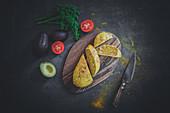 Avocado and turmeric bread