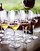 Wein in Glas einschenken