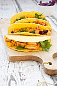 Vegetarian jackfruit tacos with sweetcorn, red cabbage and coriander