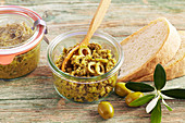 Green tapenade with green olives, garlic, capers, mustard, olive oil and lemon juice