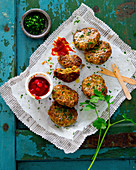 Parsley cutlets with redcurrant ketchup