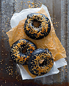 Black sesame bagels