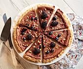 Chocolate ricotta tart with blackberries