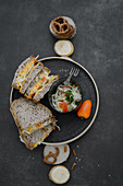 Sandwiches with obatzda, salted pretzels and pepper coleslaw