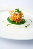 Pickled salmon with potato röstis on sorrel sauce