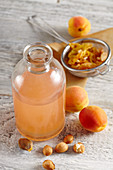 Naturally preserved apricot vinegar with seeds and acacia honey