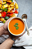 Cream of tomato soup with a mixed vegetables platter