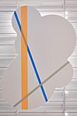 Abgehängte Decke mit bunten Streifen in Wolkenform, HARU Gallery, London