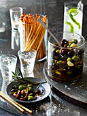 Marinated Olives with grissini