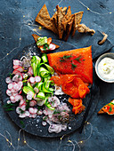 Salmon Gravlax Platter with cucumber and radish