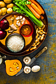 Ingredients for Indian vegetable curry with peanuts