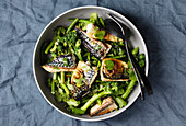 Grilled mackerel with broccoli