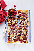 Berry and rhubarb pizza