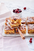 Caramel and cranberry slices