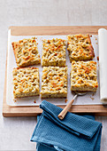 Gooseberry slices with marzipan crumbs