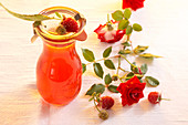 Homemade rose vinegar with raspberries