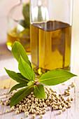 Homemade laurel oil with white pepper