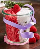 Homemade raspberry salt with fresh berries and coarse sea salt