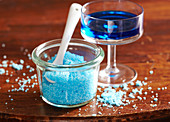 Homemade blue sugar flavored with Blue Curacao syrup