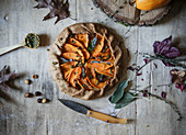 Delicious baked pumpkin galette with sweet onion