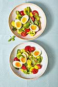 Basil and potato salad with hard-boiled eggs