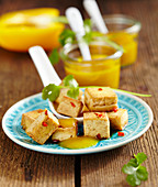 Tofu cubes with homemade yellow pepper ketchup