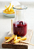Homemade beetroot and tomato ketchup with french fries