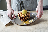 Waffles with banana and curry ice cream