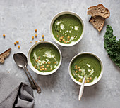 Bowls with spinach cream with kale and fennel