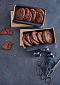 Chocolate cookies with caramel cores