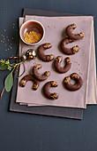 Chocolate mocha crescent biscuits