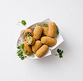 Potato croquettes with black cabbage