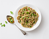 Linguine with broccoli pesto