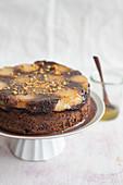 Hazelnut and pear upside down cake