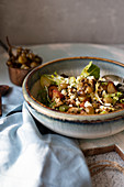 Waldorf salad with roasted grapes