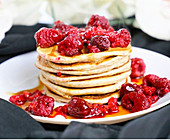 A stack of berry pancakes