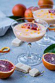 Blood orange posset with shortbread