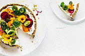 Whipped ricotta and vegetable tart with seed crust
