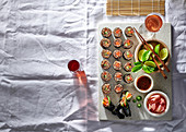 Quinoa sushi platter with soya dipping sauce