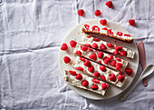 Raspberry fridge cheesecake bars