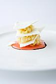 Rhubarb compote with meringue