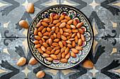 Almonds in a ceramic bowl
