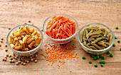 Three kinds of pasta made from legumes