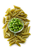Penne made from pea flour