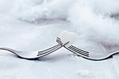 Valentines day cutlery with white heart