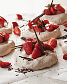 Mini chocolate pavlovas with strawberries