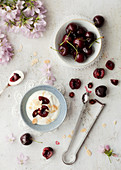 Fresh Cherries with Yoghurt and Flaked Almonds