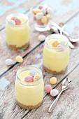 White Chocolate Cheesecake Pots with Mini Chocolate Eggs