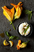 Zucchini Flowers with Mozzarella and Basil