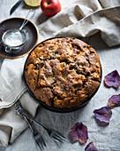 Vegan apple pie in a springform tin